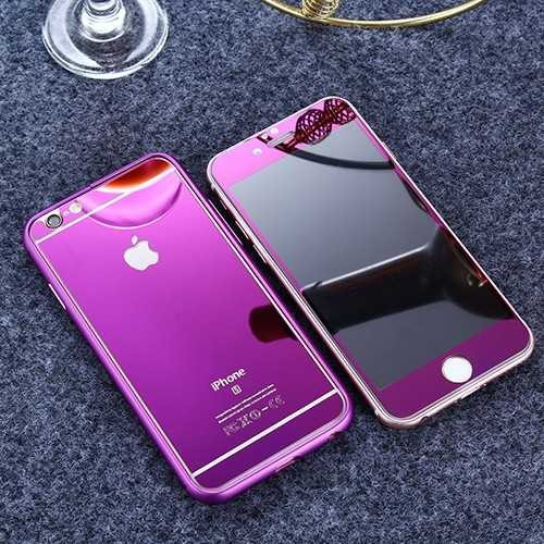 Apple iPhone Full Cover Panzerglas 9H Vorder- Rückseite pink spieglend