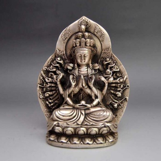 China Statue Avalokitesvara Antik Messing versilbert