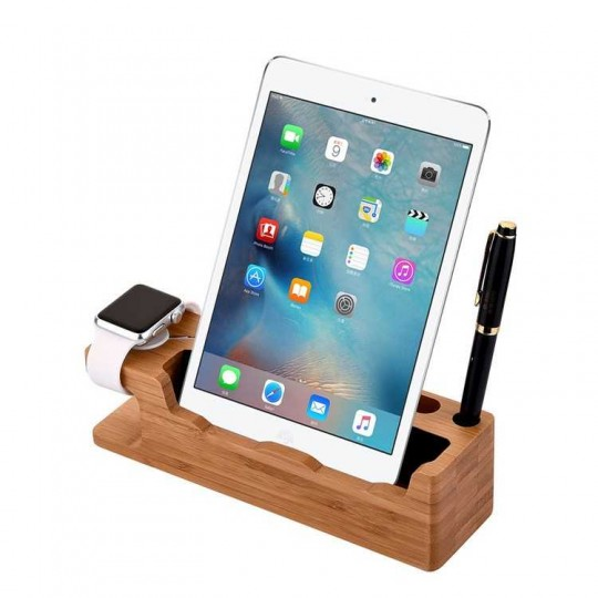 Docking Station Handy Watch Organizer Holz