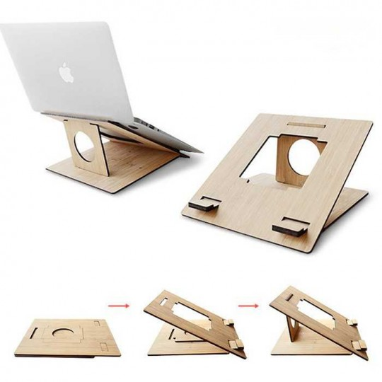 Notebook Laptop Tablet Halterung Holz massiv
