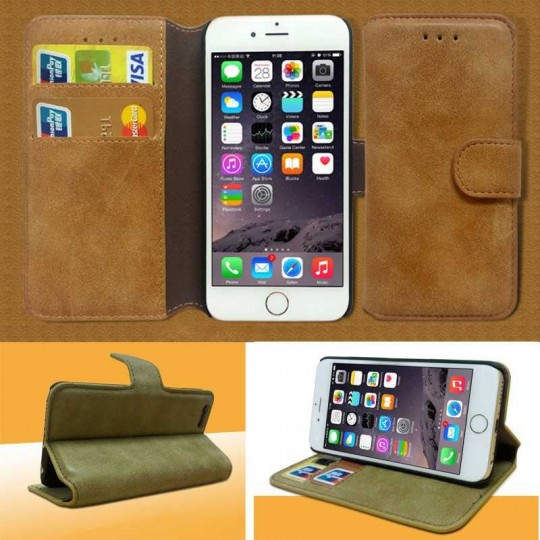 Apple iPhone Wallet Etui Handy Flip case Schutz Hülle Wildleder Style Tasche