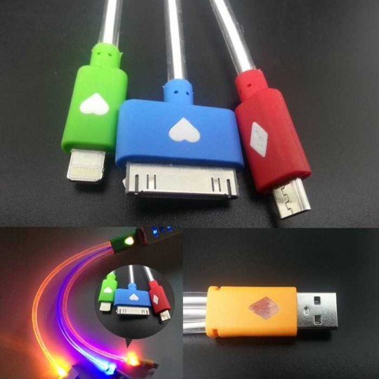3in1 Universal Multi USB Daten-/Ladekabel mit LED-Licht Samsung und  iPhone