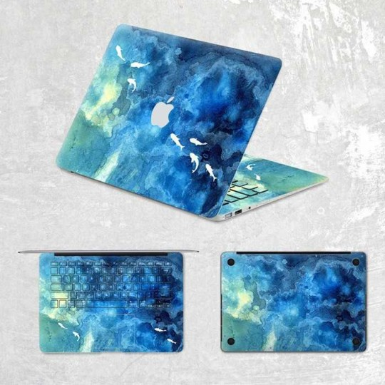 "Schutzfolie, Designfolie, Aufkleber, Skin Sticker für Apple MacBook Pro 13"" und 15 "" Design Sharks in the Sea"