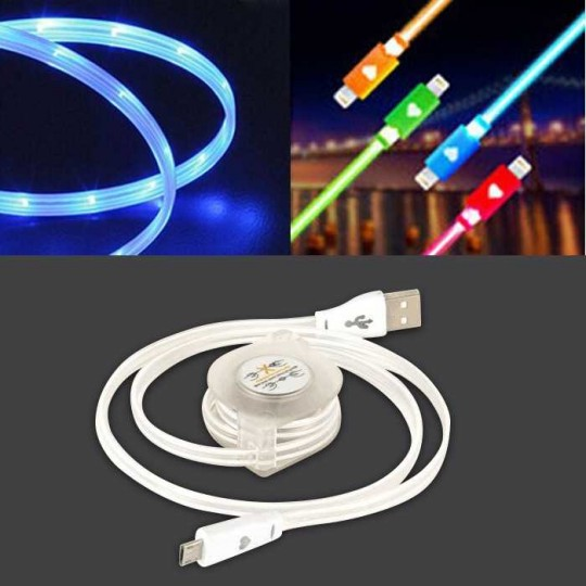Micro USB Ladekabel USB 80cm Android aufrollbar LED weiss
