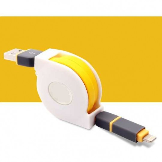 1x 2in1 Ladekabel USB iPhone Lightning Micro-USB aufrollbar