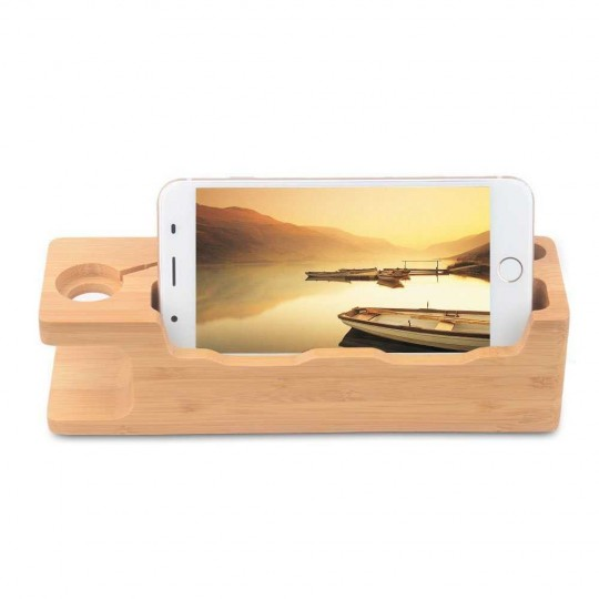 Docking Station 2 Handy Watch Holz