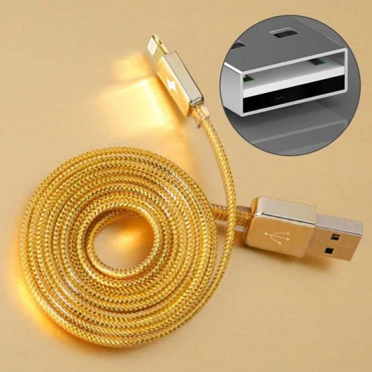 Lightning Flip USB Kabel Ladekabel Datenkabel reversible für Handy Tablet gold